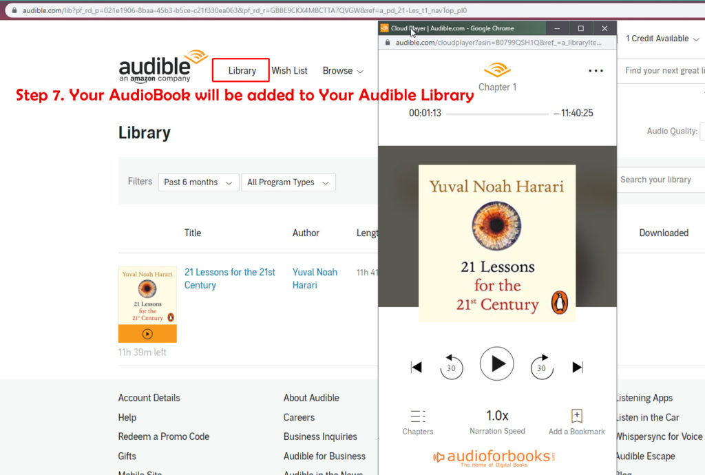 Audiobooks at your Audible Library