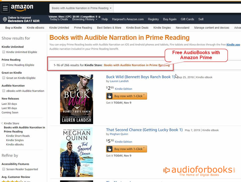 Free Audiobooks with Prime Reading