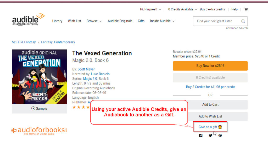 How to Gift Audible Credits