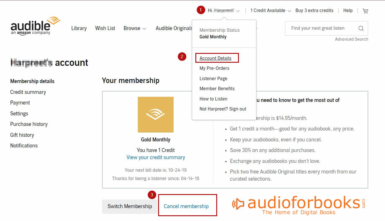 how to audible cancel free trial